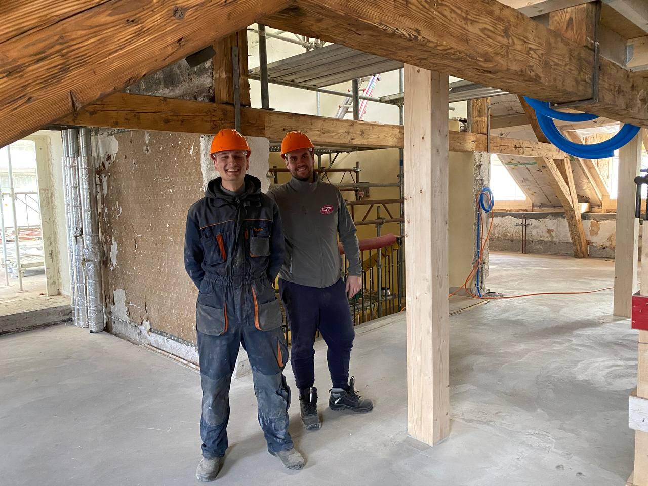 Marvin le fils et Johann notre collaborateur qui ont œuvré sur ce chantier